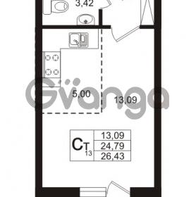 Продается квартира 1-ком 24.79 м² Охтинская аллея 4, метро Девяткино