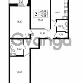 Продается квартира 3-ком 79.01 м² Петровский бульвар 7, метро Девяткино