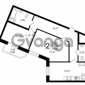 Продается квартира 2-ком 64.82 м² Петровский бульвар 7, метро Девяткино