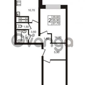 Продается квартира 2-ком 55.9 м² проспект Авиаторов Балтики 1, метро Девяткино