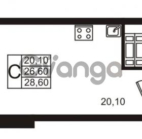 Продается квартира 1-ком 26.6 м² проспект Авиаторов Балтики 1, метро Девяткино