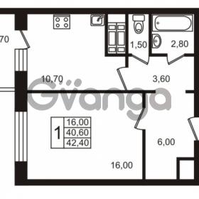 Продается квартира 1-ком 40.6 м² проспект Авиаторов Балтики 1, метро Девяткино