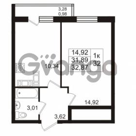 Продается квартира 1-ком 31.89 м² проспект Авиаторов Балтики 2, метро Девяткино