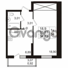Продается квартира 1-ком 33.81 м² проспект Авиаторов Балтики 2, метро Девяткино