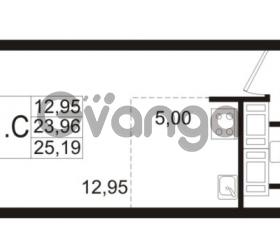 Продается квартира 1-ком 23.96 м² улица Адмирала Черокова 18к 2, метро Проспект Ветеранов