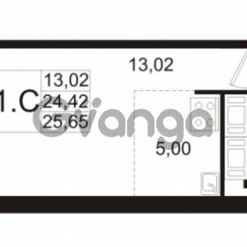 Продается квартира 1-ком 24.42 м² улица Адмирала Черокова 18к 2, метро Проспект Ветеранов