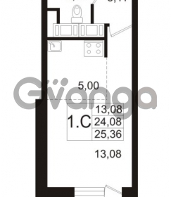 Продается квартира 1-ком 24.08 м² улица Адмирала Черокова 18к 3, метро Проспект Ветеранов