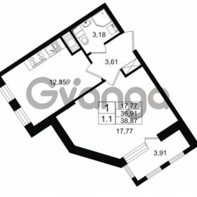 Продается квартира 1-ком 36.91 м² Столичная улица 1, метро Улица Дыбенко