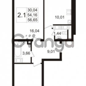 Продается квартира 2-ком 54.16 м² улица Адмирала Черокова 18к 3, метро Проспект Ветеранов