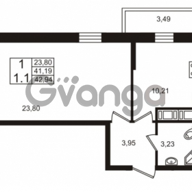 Продается квартира 1-ком 41.19 м² Столичная улица 1, метро Улица Дыбенко