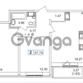 Продается квартира 2-ком 57.74 м² Русановская улица 15к 1, метро Пролетарская