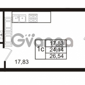 Продается квартира 1-ком 24.14 м² Комендантский проспект 53к 1, метро Комендантский проспект