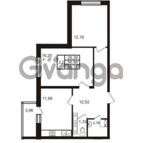 Продается квартира 2-ком 56.98 м² Комендантский проспект 53к 1, метро Комендантский проспект