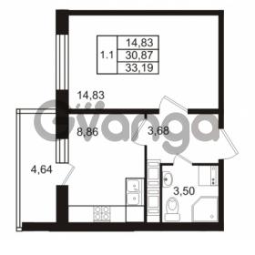 Продается квартира 1-ком 30.87 м² Комендантский проспект 53к 1, метро Комендантский проспект