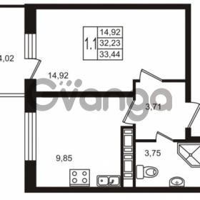 Продается квартира 1-ком 32.23 м² Комендантский проспект 53к 1, метро Комендантский проспект