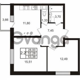Продается квартира 2-ком 52.28 м² Комендантский проспект 53к 1, метро Комендантский проспект