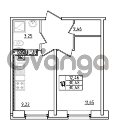 Продается квартира 1-ком 30.48 м² Привокзальная улица 1, метро Купчино