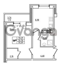 Продается квартира 1-ком 35.69 м² Привокзальная улица 1, метро Купчино