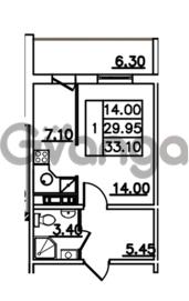 Продается квартира 1-ком 33.1 м² Привокзальная улица 1, метро Купчино