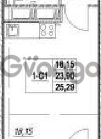 Продается квартира 1-ком 23.9 м² Столичная улица 1, метро Улица Дыбенко