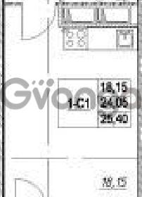 Продается квартира 1-ком 24.05 м² Столичная улица 1, метро Улица Дыбенко