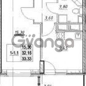 Продается квартира 1-ком 32.15 м² Столичная улица 1, метро Улица Дыбенко