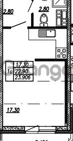 Продается квартира 1-ком 23.9 м² улица Бабушкина 82к 1, метро Пролетарская