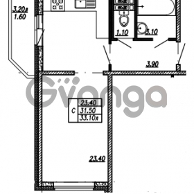 Продается квартира 1-ком 33.1 м² улица Бабушкина 82к 1, метро Пролетарская