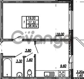 Продается квартира 1-ком 38.9 м² улица Бабушкина 82к 1, метро Пролетарская