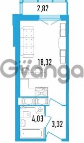 Продается квартира 1-ком 27.08 м² Дунайский проспект 13к 2, метро Звездная