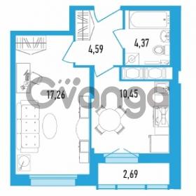 Продается квартира 1-ком 38.02 м² Дунайский проспект 13к 2, метро Звездная