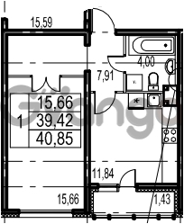 Продается квартира 1-ком 40.85 м² Парашютная улица 54, метро Комендантский проспект