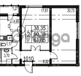 Продается квартира 2-ком 61.65 м² Парашютная улица 54, метро Комендантский проспект