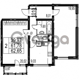 Продается квартира 2-ком 62.65 м² Парашютная улица 54, метро Комендантский проспект