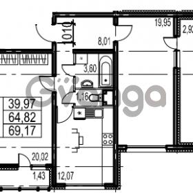 Продается квартира 2-ком 69.17 м² Парашютная улица 54, метро Комендантский проспект