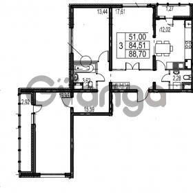 Продается квартира 3-ком 88.7 м² Парашютная улица 54, метро Комендантский проспект