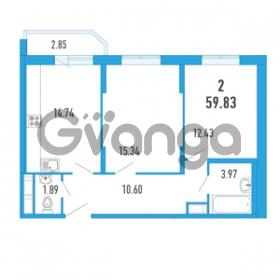 Продается квартира 2-ком 59.83 м² Петровский бульвар 3, метро Девяткино