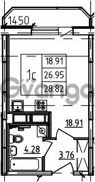 Продается квартира 1-ком 28.82 м² Петровский бульвар 3, метро Девяткино
