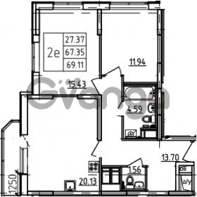 Продается квартира 2-ком 69.11 м² Петровский бульвар 3, метро Девяткино