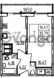 Продается квартира 1-ком 38.48 м² Петровский бульвар 3, метро Девяткино