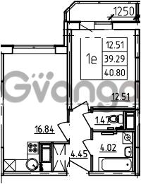 Продается квартира 1-ком 40.8 м² Петровский бульвар 3, метро Девяткино