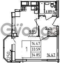 Продается квартира 1-ком 34.85 м² Петровский бульвар 3, метро Девяткино