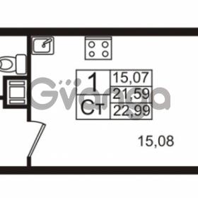 Продается квартира 1-ком 21.59 м² Немецкая улица 1, метро Улица Дыбенко