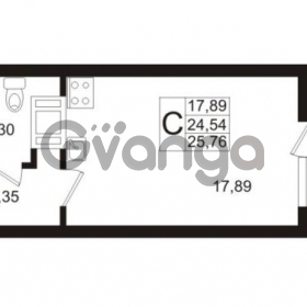 Продается квартира 1-ком 24.54 м² Европейский проспект 1, метро Улица Дыбенко