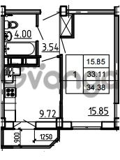 Продается квартира 1-ком 34.38 м² Петровский бульвар 3, метро Девяткино