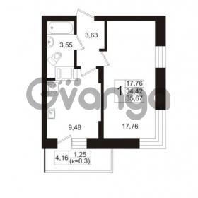 Продается квартира 1-ком 34.42 м² Европейский проспект 1, метро Улица Дыбенко