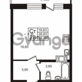 Продается квартира 1-ком 28.18 м² проспект Авиаторов Балтики 3, метро Девяткино