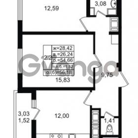 Продается квартира 2-ком 54.66 м² проспект Энергетиков 9, метро Ладожская