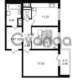 Продается квартира 2-ком 57.08 м² проспект Энергетиков 9, метро Ладожская