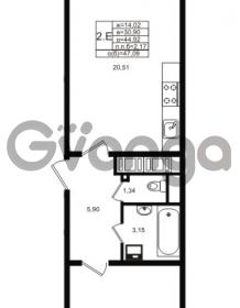 Продается квартира 1-ком 44.92 м² проспект Энергетиков 9, метро Ладожская